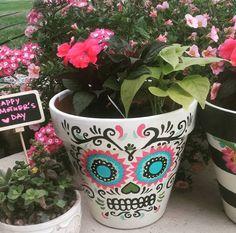 Hand Painted Sugar Skull Flower Pot