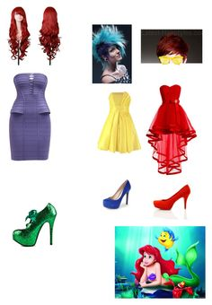 """The Little Mermaid"" by calm-hich-psych ❤ liked on Polyvore featuring Hervé Léger, Viva Bordello, Jessica Simpson, Bamboo and Sunpocket"