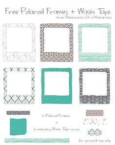 Free Printable: 6 Patterned Polaroid Frames + 6 matching Washi Tape Strips