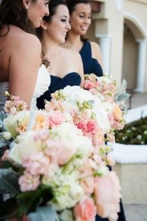 Navy dresses, dark pink flowers?