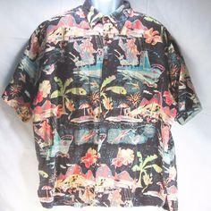 Kahala Avi Collection Maui Jim Fishing Boat Fine Art Hawaiian Shirt XXL 56 inch