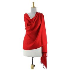 NOVICA Wool and Silk Blend Red Wrap Shawl from India ($63) ❤ liked on Polyvore featuring accessories, scarves, clothing & accessories, red, shawls, shawl scarves, red scarves, wrap scarves, fringed shawls and red shawl
