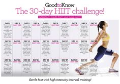 Get fit FAST with our easy-to-follow 30-day HIIT challenge. Interval training is the best way to tone up fast when you're short on time to work out. Download your chart and get started today!
