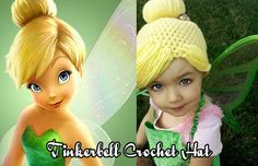 For Halloween this year Annie requested to be a cat again. When I shot down that idea she decided Tinkerbell would be a better option. Crochet Kids Hats, Crochet Beanie, Crochet Gifts, Crochet Clothes, Crochet Baby, Crochet Princess Hat, Crochet Wig Pattern, Yarn Wig, Knitting Patterns