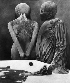 Zdzisław Beksiński Untitled/Bez tytułu - 1971, 87 x 73 cm (MHS) Arte Horror, Horror Art, Dark Fantasy Art, Dark Art, Mark Riddick, Arte Obscura, Macabre Art, Sketch Inspiration, Weird Art