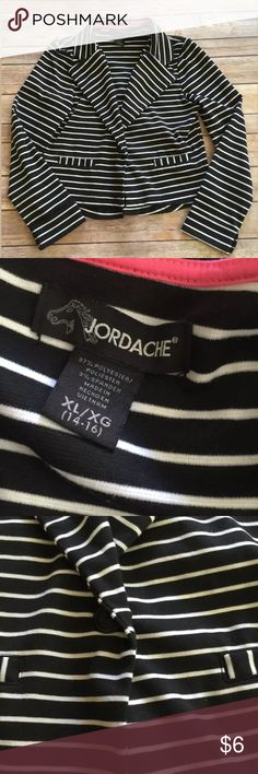 Girls birdcage black & white striped blazer NEW XL Very cute blazer. Would look pretty on spring dresses.  Size 14/16    New without tags ... Smoke/pet free home Jordache Jackets & Coats Blazers
