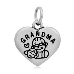 * Penny Deals * - HooAMI Stainless Steel 'GRANDMA' Heart Charm Pendant Necklace * See this great product.
