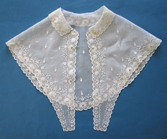 "c1840 Large Embroidered Collar Fichu w Short Lappet Fronts | eBay seller jaruk; 14"" deep at center back, length of front edges: 14"""
