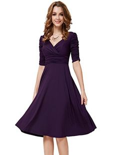 Ever Pretty 3/4 Sleeve Ruched Waist Classy V-Neck Casual Cocktail Dress #V-Neck #Fashionlve #Casual #Classy #Dress