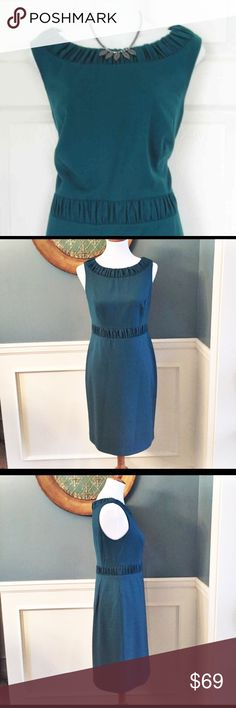 """Talbots Italian Flannel Wool Teal Sheath Dress Talbots Italian Flannel Wool Teal Sheath Dress. New with tags. Perfect for any occasion. Stylish and sophisticated. Figure flattering with ruched detail at the waist and neckline. Fully lined. Hidden back zipper closure. Approximately 7"""" tacked slit in back. Approximate measurements laying flat: armpit to armpit 17"""", waist 15"""", waist to hem outseam 22"""", total length shoulder to hem 37"""". 👗👛👠👙👕Bundle & Save! Talbots Dresses"""
