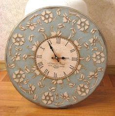 Clock Craft, Clock Decor, Big Clocks, Art Deco Watch, Plaster Art, Decoupage Art, Cardboard Art, Sculpture Painting, Vintage Scrapbook