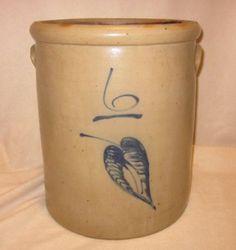 Antique Red Wing 6 Gallon Salt Glazed Stoneware Crock Hand Painted Cobalt Leaf
