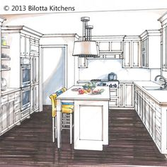 "Rendering for one of Peter Bittner's Bilotta kitchens.    ""Sometimes it's hard for people to envision what their new space will look like,"" says Peter Bittner of Bilotta Kitchens. Architectural drawings are sometime difficult to decipher. With a colorful 3D rendering of the proposed space it makes it easier for clients to see what their new kitchen will look like, giving them the confidence to move ahead on their project with you."