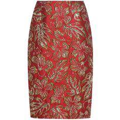 Prada Metallic Cloqué Jacquard Skirt ($1,225) ❤ liked on Polyvore featuring skirts, prada, юбки, red, red skirt, prada skirt, metallic skirts and jacquard skirt