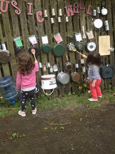 Music wall with numbered/coloured 'octave' of pans to play simple tunes... Like Twinkle Twinkle and Happy Birthday.