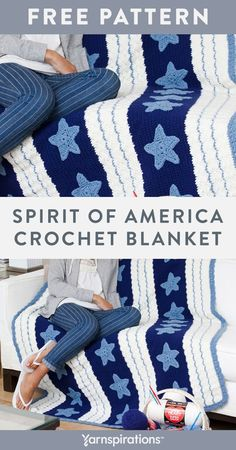 Free Spirit of America Blanket crochet pattern using Red Heart Super Saver yarn. Here's a throw that shows your patriotism in stars and stripes. Crochet it for a boy's bedroom, send it to someone serving our country here or abroad or give it to anyone who loves the USA! #Yarnspirations #FreeCrochetPattern #CrochetAfghan #CrochetThrow #CrochetBlanket #Patriotic #StarsandStripes #RedHeartYarn #RedHeartSuperSaver Crochet Blanket Patterns, Crochet Heart Blanket, Afghan Patterns, Knit Or Crochet, Easy Crochet, Crochet Hooks, Red Heart Yarn, Free Pattern, Super Saver