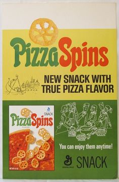 New Pizza Spins Board Retro Advertising, Retro Ads, Vintage Ads, Vintage Food, Vintage Stuff, Vintage Advertisements, Vintage Items, Retro Recipes, Vintage Recipes