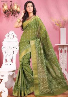 Sarees:R10P347 | Designer Printed Olive Green Saree