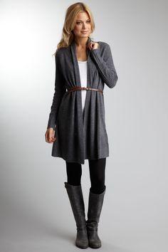 I have a great JCREW long sweater that will work for this look. Gray boots too. Finally invested in skinny belts. Why did I wait so long? rs:)