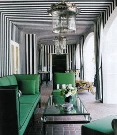 #Emerald #outdoor #furniture with black and white #striped walls and ceiling.  What a fun color combination!