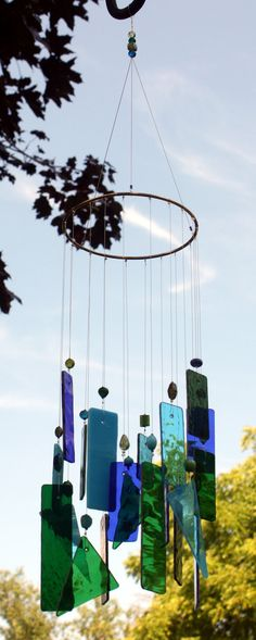 Blues and Greens Stained Glass Windchime. $35.00, via Etsy.