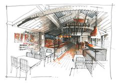 RICHARD CHADWICK THE STOCKYARD - development sketches for the Stockyard Bar and Grill ; we opened the first outlet in Hale , SW Manchester , with the client now actively looking for further sites . Interior Design Colleges, Interior Design Programs, Commercial Interior Design, Best Interior Design, Interior Design Living Room, Interior Livingroom, Interior Rendering, Interior Sketch, Cafe Interior
