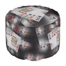 Poker_Quad_Kings_Layered_Pattern_Full_Print_Pouffe Round Pouffe