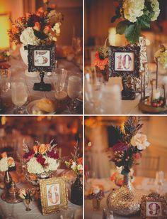 Hydrangea, celosia, purple limonium, orange roses, orange hypericum, waxflower - Woodland-Inspired Indoor Wedding: Maura + Jim