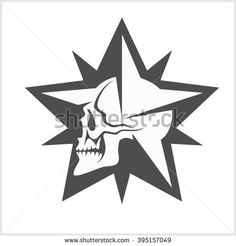 Star with skull - abstract vector element for tattoo and logo design