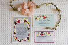 invitations & hair wreath with flower. definitely.