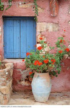 Blue window with geranium