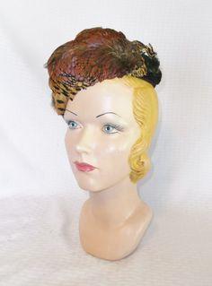 1930s Vintage Pheasant Feather Tilt Toque Hat by MyVintageHatShop
