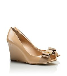 Tory Burch Trudy Patent Open-toe High Wedge : Women's View All Peep Toe Pumps, Wedge Sandals, Tory Burch Sandals, High Wedges, Shoe Dazzle, Me Too Shoes, Fab Shoes, Designer Shoes, Open Toe