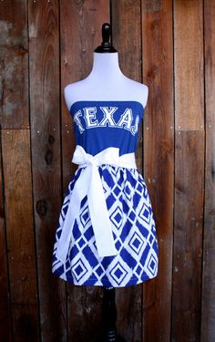 Texas Rangers Baseball Strapless Game Day Dress - Size Small. $55.00, via Etsy.