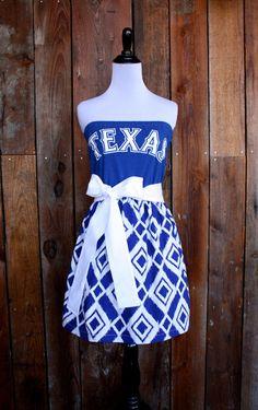 Texas Rangers Baseball Strapless Game Day Dress - Size Small. $55.00, via Etsy.