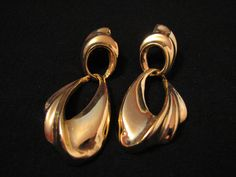 BIG Vintage Heavy Gold Tone Puffy Wave Dangle Pierced by ditbge, $6.75