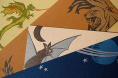 Beasts and Rockets - Letterpress Card Set with Bat, Dragon, Lion and Spaceship, by LionOfBali, $22.00