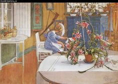 Carl Larsson interior with Cactus