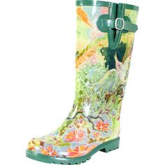 Bring a stylish touch to stormy days with these chic rain boots, showcasing rubber outsoles and a floral print.  Product: Pair o...
