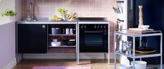 Small Kitchens...free standing units...and great tips for use-of-space on this website too.