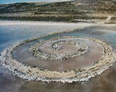 Spiral Jetty. Great Salt Lake, Utah, U.S. Robert Smithson. 1970 C.E. Earthwork: mud, precipitated salt crystals, rocks, and water coil.