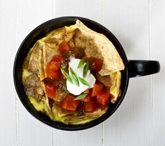 So doing this: Make Chilaquiles... in a Coffee Cup!