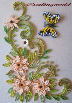 Quilling Butterfly, Paper Quilling Flowers, Paper Quilling Cards, Quilling Work, Neli Quilling, Origami And Quilling, Paper Quilling Patterns, Quilled Paper Art, Paper Flowers Craft
