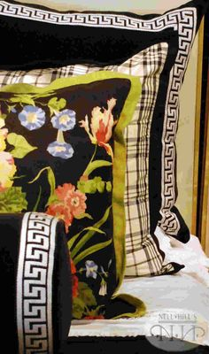 black and white layers. Love the pop of the floral, Ladies mantle. Ralph Lauren knows how to do textiles right!