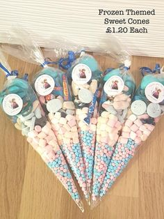 20 Frozen themed party bags/sweet cones birthdays baby showers christenings favours