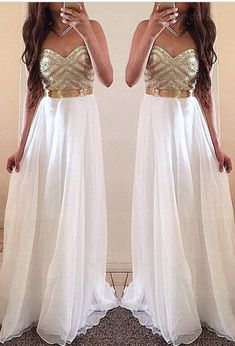 Ulass White Prom Dresses, Gold Prom Dress, Unique Prom Dresses, Sexy Prom…