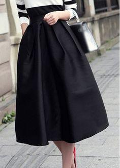 Vintage Black High Waist Flared Midi Skirt with cheap wholesale price, buy Vintage Black High Waist Flared Midi Skirt at rotita.com !