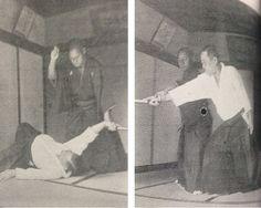 "Takuma Hisa, a student of both Morihei Ueshiba and Sokaku Takeda, dodges an attack with a folding fan in 1940. More from Hisa Sensei along with a free download of his 1940 book on Daito-ryu in ""Takuma Hisa – Kannagara no Budo, Daito-ryu Aiki Budo Hiden 1940"", on the Aikido Sangenkai blog: http://www.aikidosangenkai.org/blog/takuma-hisa-kannagara-no-budo-daito-ryu-aiki-budo-hiden-1940/"