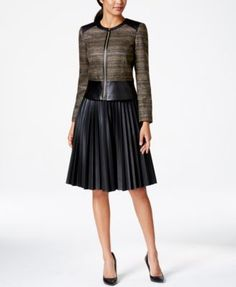 Tahari ASL Faux-Leather-Trim Metallic Jacket & Pleated A-Line Skirt
