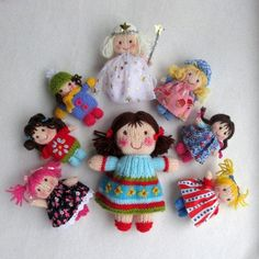 KNITTING PATTERN contains instructions for JENNY (the large doll). The seven smaller JOLLY DOLLIES are made from the same basic pattern with variations in hair style, colour of yarn and clothing. They can be knitted entirely in yarn or wear pretty dresses made from tiny scraps of fabric (pattern for fabric dresses include).SIZE: JENNY is 20 cm (8in). JOLLY DOLLIES are 10cm (4in).NEEDLES: knitted on two straight 3.25 mm needles (US 3)YARN: DK (double knitting) yarn (USA - light-worsted/A...